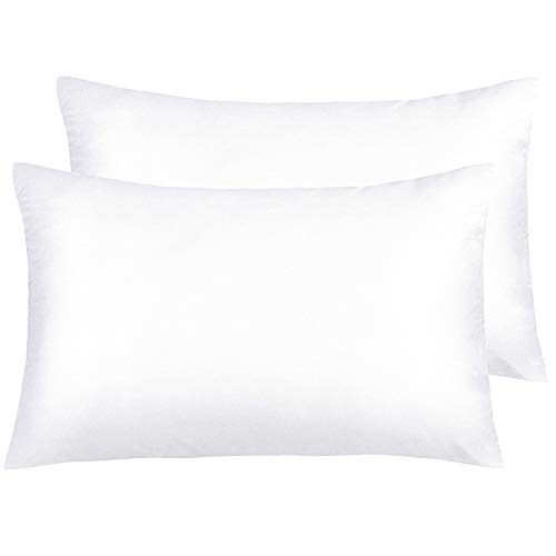 (NTBAY Silky Satin Queen Pillowcases Set of 2, Super Soft and Luxury, Hidden Zipper Design, White, Queen Size)