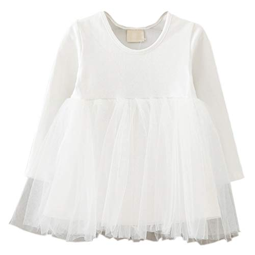LYXIOF Baby Girls Toddler Tutu Dress Long Sleeve Princess Dress Infant Tulle Dress 2-White 18 Months (Tulle Sleeve Long)