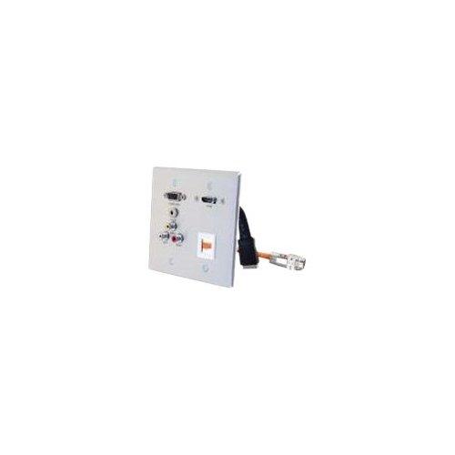 C2G 60116 RapidRun Double Gang HD15 + 3.5mm + RCA Audio/Video + HDMI Pass Through Wall Plate - Wall plate - VGA / composite video / audio - HD-15, mini-phone - 15 Video Hd15 Pin