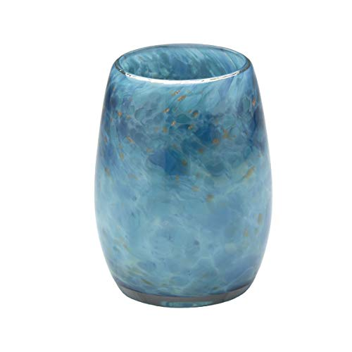 (Votive Candle Holder. Hand Blown Art Glass in Teal.