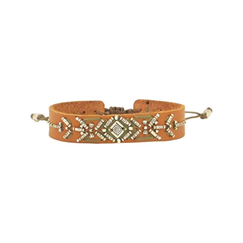 Chan Luu Adjustable Leather Cuff Bracelet in Tan Mix ()