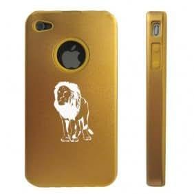 Apple iPhone 4 4S 4 Gold D3810 Aluminum & Silicone Case Cover Lion