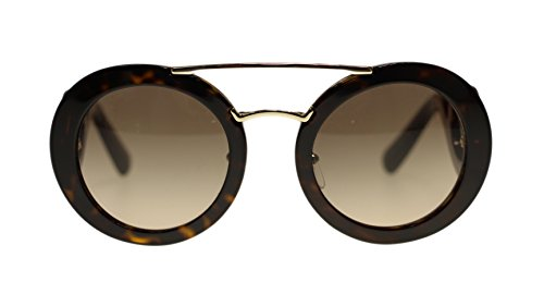 Prada Round Womens Sunglasses PR13SS 2AU3DO Havana/Brown Gradient 54mm - Sunglasses White And Black Prada