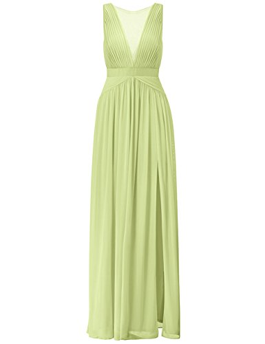 Women's Chiffon Lace Split Long Formal Wedding Dress Evening Party Gown Sage Green US10