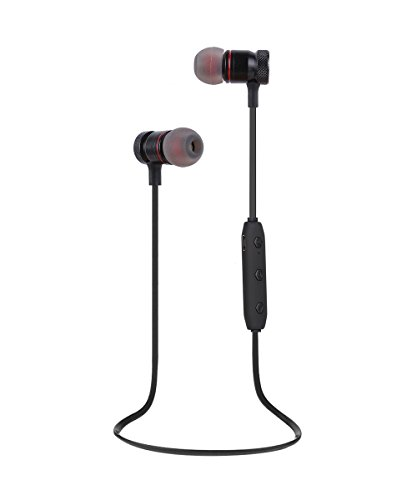 Bluetooth Headphones Wireless Headphones Sweatproof Stereo Sports Earbuds with Magnetic Attraction Earphones for Running Workout Gym Noise-Canceling with Built-in Mic Headset YYQ (Black)
