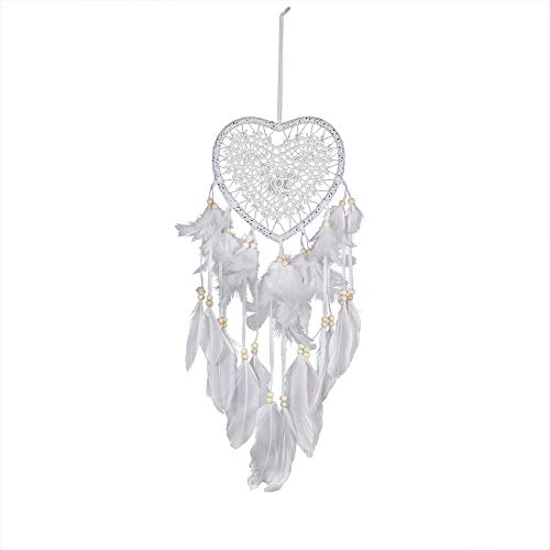 BBB&LIU Handmade Lace Dream Catcher Feather Bead Heart Shaped Dream Catcher Pendant Hanging Decoration Decoration Gift Room,White