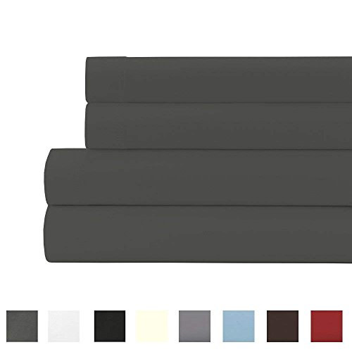 15 Deep Pocket Sheet Set - 24 inches EXTRA DEEP POCKET Sheet Set - 1500 Thread-Count - 100% EGYPTIAN QUALITY Breathable Double Brushed Microfiber- Wrinkle, Fade, Stain Resistant and Hypoallergenic - 4 Piece (King, Dark Gray)