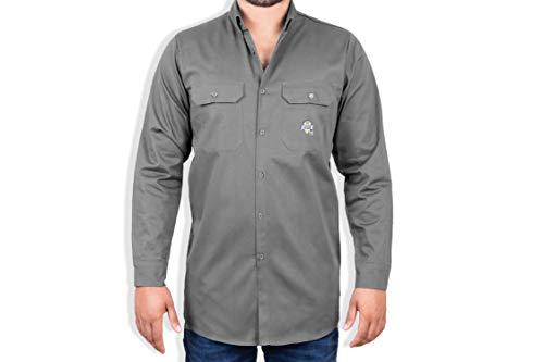 8.1 oz FR Shirt For Men - Fire Resistant Shirt - Fire Retardant Welding Shirt - Grey Welder Shirt