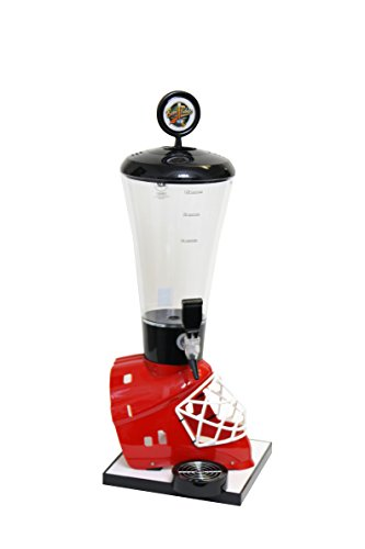 Beer Tubes Red Hockey Helmet Beverage Tower Dispenser with Regular Tap, 128 oz. Super Tube, HRE-ST-R by Beer Tubes