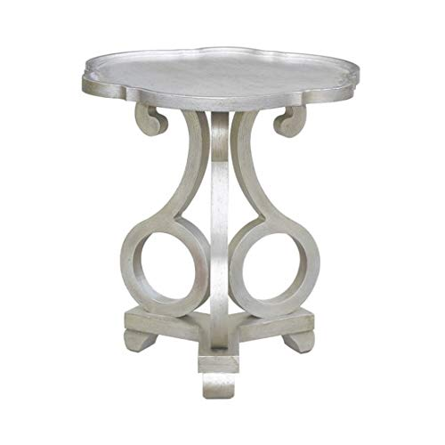 Crestview Collection Adriana Brushed Silver Scalloped Side (Scalloped Side Table)