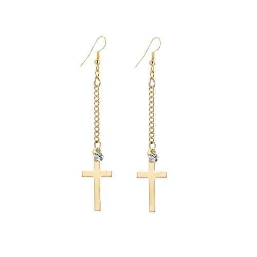 IDB Dangle Cross Religious Hook Earrings - Available in Silver and Gold Tones (Gold Tone)