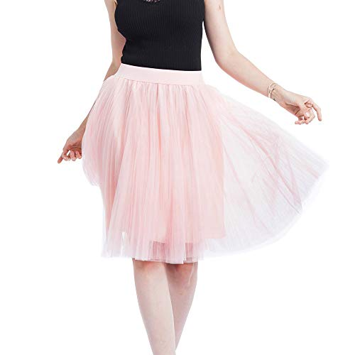 (Usstore  Women Junior Girls Mesh Tulle Skirt Sexy Fashion Elegant 4-Layers Pleated Princess Bubble Banquet Tutu Mini Skirt (Free Size, G))