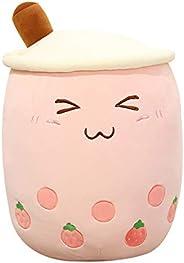Cute Boba Plush Stuffed Toys 35cm (13.8 in) Big Pink Strawberry Bubble Boba Pearl Milk Tea Marshmallows Plush