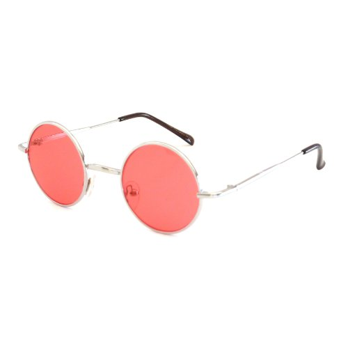 John Lennon Vintage Style Round Silver Party Shades Sunglasses RED - 60s Sunglasses Round