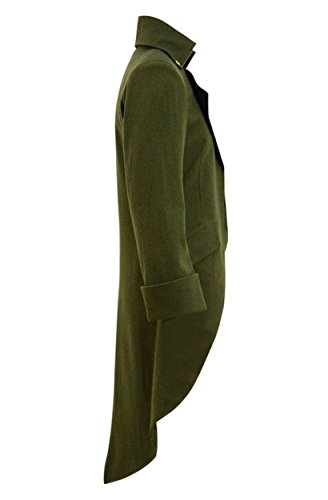 Very Last Shop Mens Gothic Tailcoat Jacket Black Steampunk Victorian Long Coat Halloween Costume (US Men-S, Army Green(Woolen)) by Very Last Shop (Image #2)