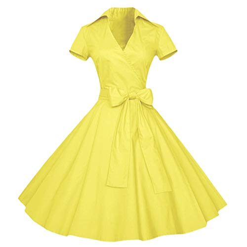 Samtree Womens Polka Dot Dresses,50s Style Short Sleeves Rockabilly Vintage Dress(XXL(US 14),Yellow) (50 Retro Clothes)