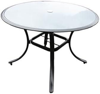 Aluminio jardín mesa cristal – Mesa redonda de cristal Diámetro ...