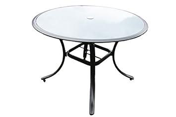 TABLE dE jARDIN eN aLUMINIUM aVEC pLATEAU dE tABLE eN vERRE ...