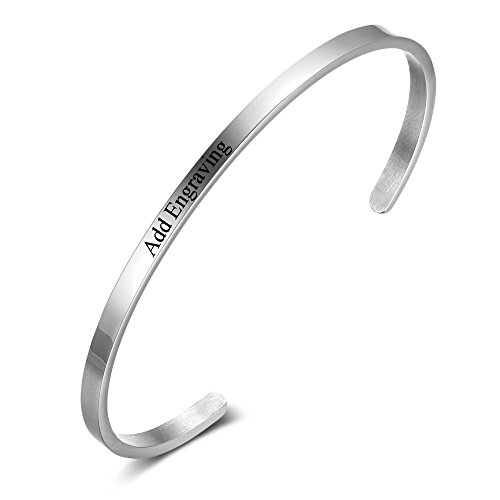 Adjustable Stainless Steel Women Bracelets Personalized with Names Love Cuff Bangle Bracelets for Friends (BA101918)