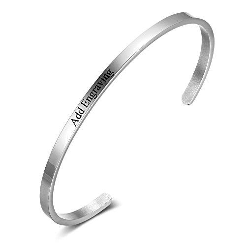 Engravable Cuff Bracelet - Adjustable Stainless Steel Women Bracelets Personalized with Names Love Cuff Bangle Bracelets for Friends (BA101918)