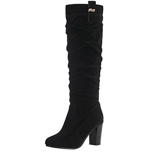 Coolcept Women Casual Chunky High Heel Slouch Boots Knee High Pull On Black 7iZNrVZ