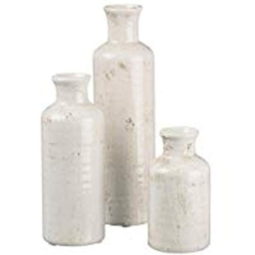 Sullivans Petite White Ceramic Vase Set, Rustic Home Decor, Distressed White, Set of 3 (CM2333)