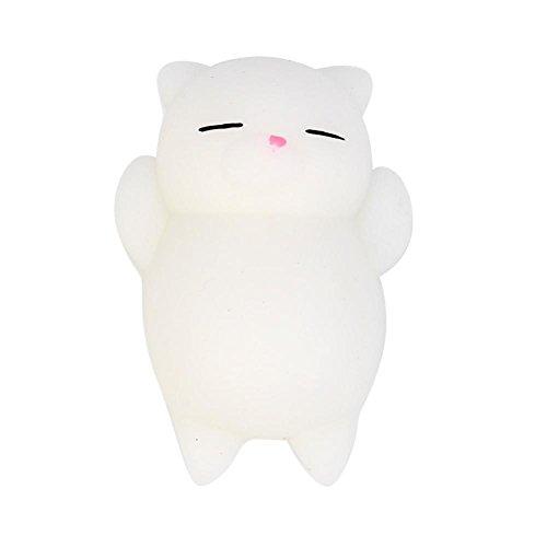 Toraway 1PC Cute Lovely Mochi Cat Squishy Squeeze Healing Fun Kids Kawaii Toy Stress Reliever Decor (White - Shipping 2 Day