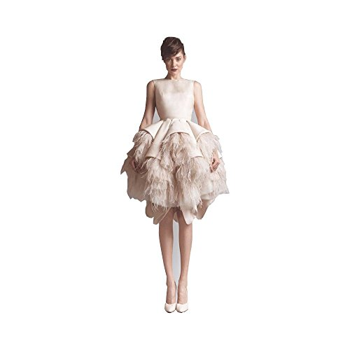 Fenghuavip Irregular Hem Champagne Ostrich Feather Bridal Wedding Dress (24)