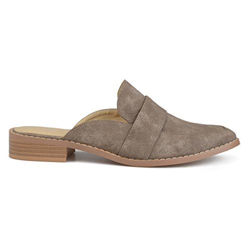 Brinley Co Womens Faux Leather Slip-On Almond Toe Mules Grey