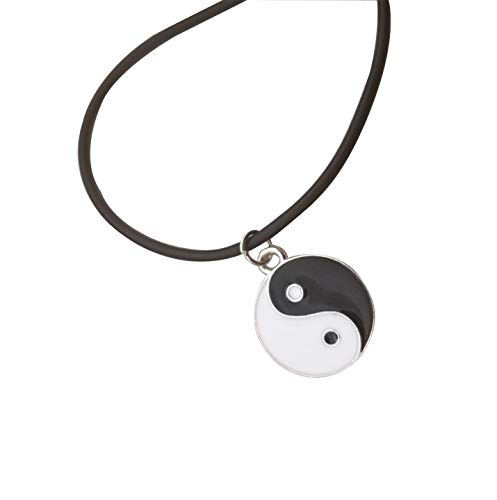 Pusheng Retro Charm Pendant Necklace Tibetan Silver Boho Black Rubber Cord Yin and Yang