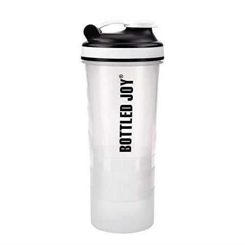 BOTTLED JOY Shaker Bottle Protein Shaker Bottle with Storage Gym Supplement Shaker Water Bottle Compartment 4 in 1 Shaker Water Bottle for Energy Protein Powder with 500ML 17OZ 3 Storage Blue