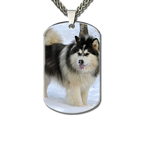 Personalized Military Army Style Aluminum Dog Tag ID Pendant Necklace/Rectangle Dog Tag Keychain (Cute Malamute) ()