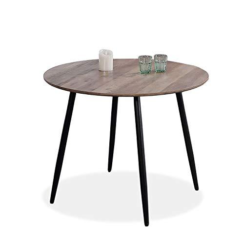Adec - Suecia, Mesa de Comedor Redonda, Mesa de salon acabada en Color Nogal y Patas Negras, Medidas: 100 cm (Diametro) x 75 cm (Alto)