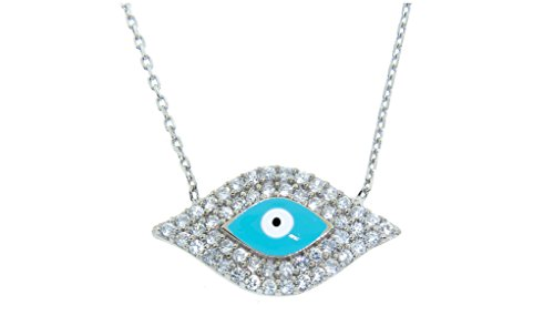 ubic Zirconia Evil Eye Novelty Necklace (Light Blue) (Blue Evil Eye Necklace)