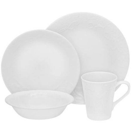 Corelle Embossed Bella Faenza 16-Pc Dinnerware Set, White