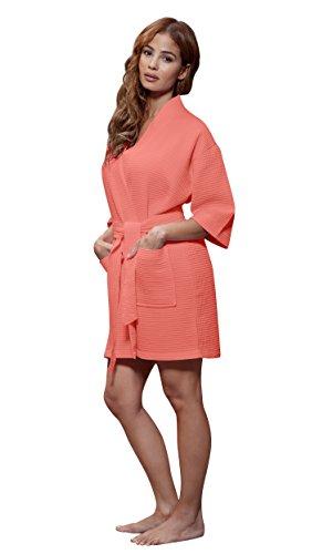 Turquaz Linen Lightweight Knee Length Waffle Kimono Bridesmaids Spa Robe (Large, Coral)