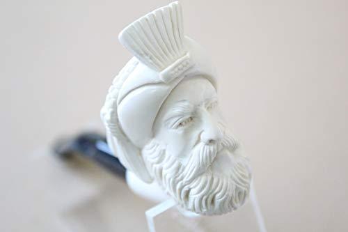 White Turkish Meerschaum Cabalash Smooth Smoking Pipe Handcrafted, Unique Design by Handmade Studio ()