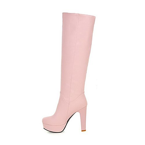 Boots Womens on Pink High Pull top Heels AllhqFashion Solid High PU 4STqq