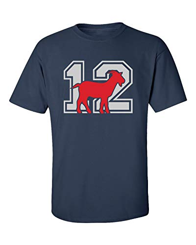 Patriots #12 Goat Adult Unisex Short Sleeve T-Shirt-Navy-XXL