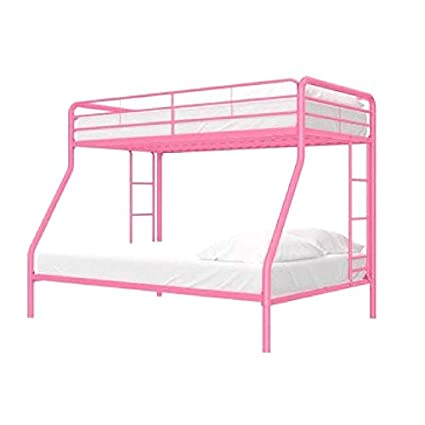 Amazon Com Girls Bunk Bed Metal Frame Twin Over Full With Ladders