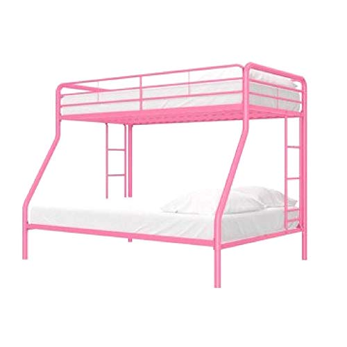 Girls Bunk Bed Metal Frame Twin-Over-Full, with Ladders and Safety Rails, Space Saving Design, Easy Assembly, Box Spring Not Required, (Junior Twin Futon)