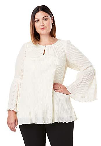 Jessica London Women's Plus Size Crinkle Bell Sleeve Blouse - Ivory, 20 W ()