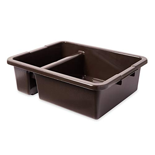 "Rubbermaid 3350 21-1/2"" Length x 17-1/8"" Width x 7"" Height, 7 gallon Brown HDPE Divided Bus/Utility Box (Renewed)"