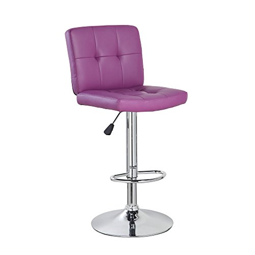 NORDIN Adjustable Bar Stool Modern Pu Leather Swivel Square Counter Height Kitchen Teacher Bar Chair with Backs (Purple)