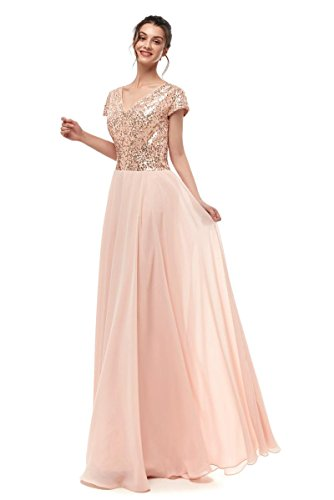 Dannifore Rose Gold Cap Sleeve Empire Waist Formal Evening Gowns Long Women Bridesmaid Dress,Size -