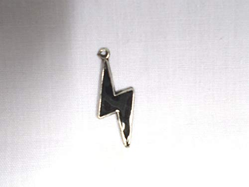 Stormy Sky Black Inlay Lightning Bolt Rock ROLL Pendant ADJ Necklace KEZ-1102
