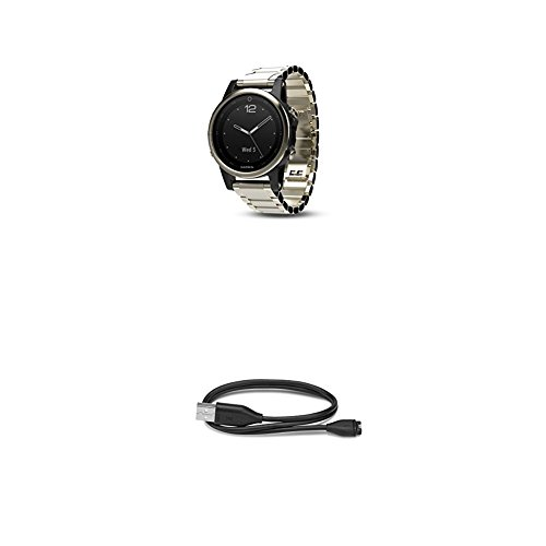 010 Champagne - Garmin Fenix 5S Sapphire - Champagne with Metal Band and 010-12491-01 Charging/Data Cable (Fenix 5S, 5, 5X)