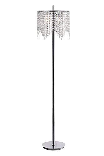 Edvivi Marya 3-Light Chrome Crystal Beaded Round Shade Chandelier Floor Lamp Fixture | Glam Lighting