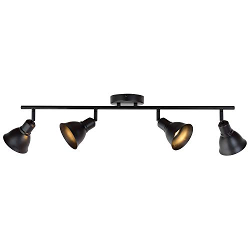 4-Light Track Lighting Fixtures Black, Spotlights Wall Lights Kitchen Light Fixtures Ceiling, 35W GU10 Base Halogen Bulbs Included by MELUCEE