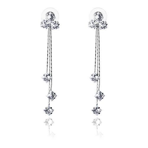 Cz Earrings Dangle - Tassel pendant earrings long earrings Cubic Zirconia Drop Earrings Fashion X002S